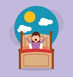 girl in bed waking up in the morning with cloud vector image