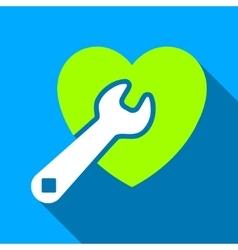 Heart Repair Flat Long Shadow Square Icon vector image vector image