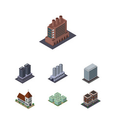 Isometric construction set of tower house chapel vector