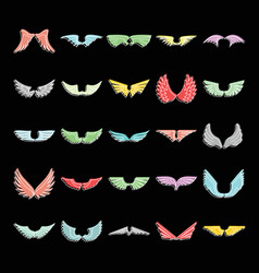 wings set doodle for design vector image