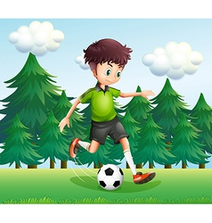 A boy kicking a soccer ball near the pine trees vector image vector image
