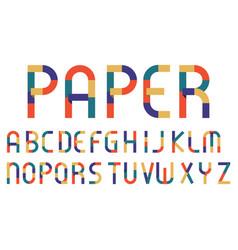 alphabet retro color paper style vector image