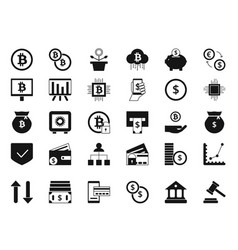coins bitcoin digital money and other symbols of vector image