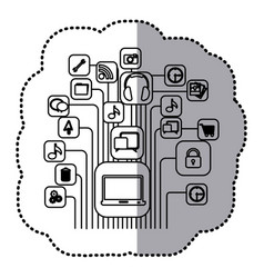 contour computer icons connections vector image