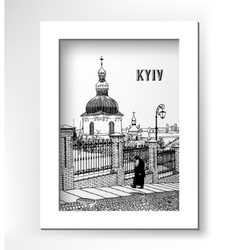 drawing of historical building landscape ukrainian vector image