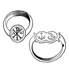 episcopal rings vintage engraving vector image vector image