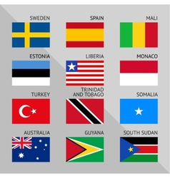 Flags of world flat Set number 09 vector image vector image