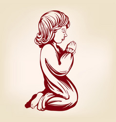 girl child praying on his knees religious symbol vector image vector image