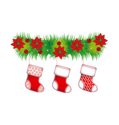 ornament christmas flowers with boots christmas vector image vector image