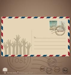 Vintage envelope designs with postage stamps vector image vector image