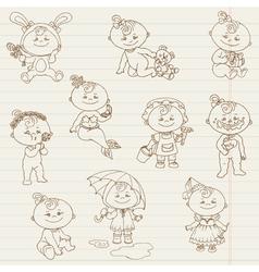 Baby Girl Cute Doodles vector image vector image