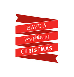 big red ribbon with have a very merry christmas vector image