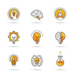 creative idea logo set with human head brain vector image vector image