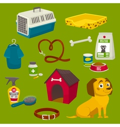 Dog care object set items and stuff cartoon food vector image vector image