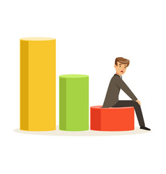 frustrated businessman sitting on a graph down vector image