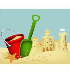 Sand castle building vector image vector image