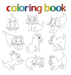 Set of nine playful kittens for coloring book vector image vector image