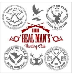 set of vintage hunting emblems vector image