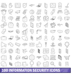 100 information security icons set outline style vector