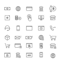 30 commerse line icons vector image
