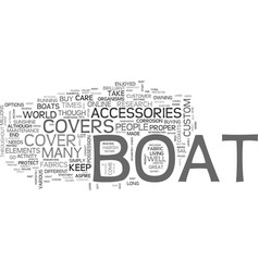 A study of boat covers text word cloud concept vector