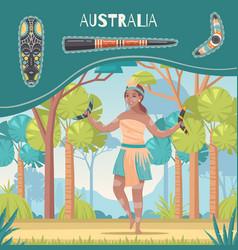 Australia cartoon poster vector