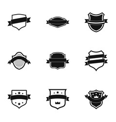 Banderole icons set simple style vector