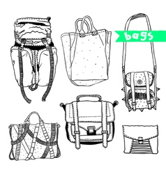 black and white set with original bags vector image
