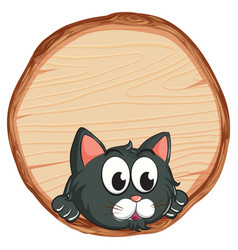 Blank sign template with cute cat on white vector