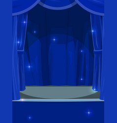 Blue curtains on circus or theater stage backdrop vector