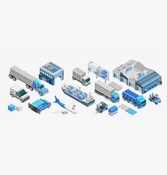 Blue freight transport and warehouses vector