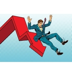 Business male financial collapse fall and ruin vector image