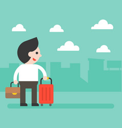businessman and luggage on city background for vector image