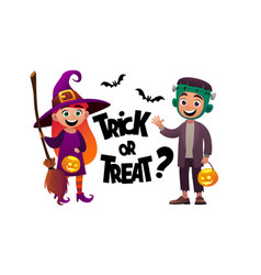 cartoon children witch and monster costume trick vector image