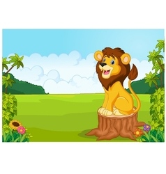 Cartoon cute lion sit on the tree vector