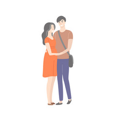 cartoon students in love male and female isolated vector image