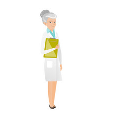 caucasian doctor holding clipboard with papers vector image