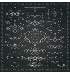 Chalk Drawing Decorative Doodle Design Elements vector