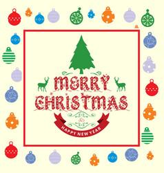 christmas greetings card with christmas balls vector image