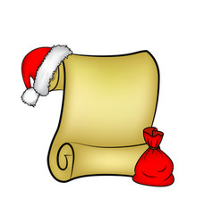 christmas paper scroll card with santa caphat and vector image
