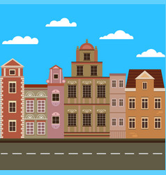 city street with vintage buildings vector image