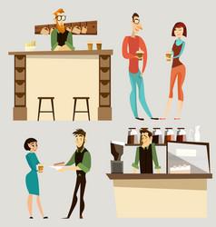 coffee bar people icon set vector image vector image