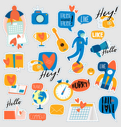 collection of flat design social network stickers vector image