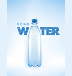 concept with water bottle with many drops vector image