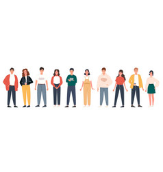Diverse people group standing together on isolated vector