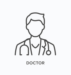doctor flat line icon outline vector image
