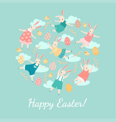 easter card with happy bunnies vector image