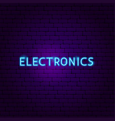 electronics text neon label vector image