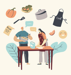 family characters cooking together making bakery vector image