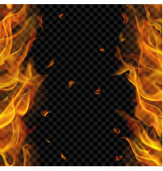 Fire flame on two sides with vertical repeat vector